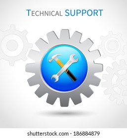 Technical support toothed ring with hammer and spanner wrench web symbol icon
