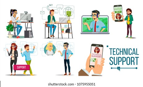 Technical Support Vector. Online 24/7 Technical Support. Headset. Support Service. Operator And Customer. Answering. Specialist Ready To Solve Problem. Flat Isolated Illustration