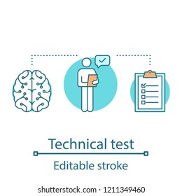 Technical test concept icon. Pre-employment skill testing idea thin line illustration. Career development. Job application. Filling questionaire. Vector isolated outline drawing. Editable stroke