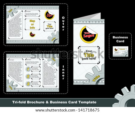 Technical Trifold Leaflet Business Card Template Stock Vector