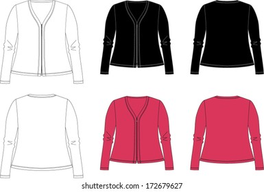 Technical vector drawing of woman's jacket