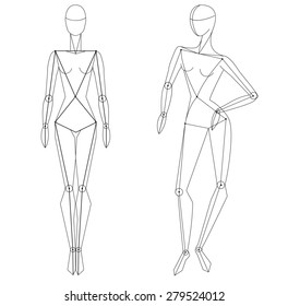 Technical vector woman figure static and  in movement for vogue style illustration and fashion designers. Female's stylized figure.