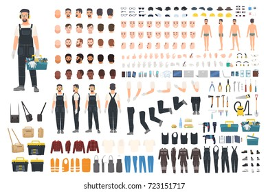 Technical worker creation kit. Set of flat male cartoon character body parts, skin types, facial gestures, clothing, working tools and accessories isolated on white background. Vector illustration.