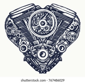 Technically mechanical heart tattoo. Steampunk heart engine art.