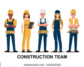 Techniker und Bauherren und Ingenieure und Mechaniker Teamwork , Vektorgrafik-Zeichentrickfigur.