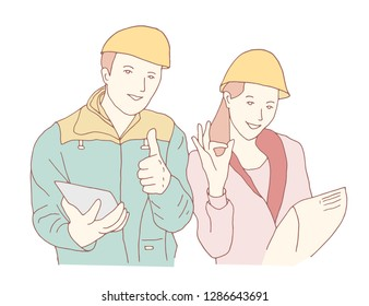 Technician and builders and engineers and mechanics woman vector illustration cartoon character.