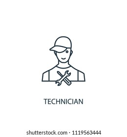 technician concept line icon. Simple element illustration. technician concept outline symbol design from car service set. Can be used for web and mobile UI/UX