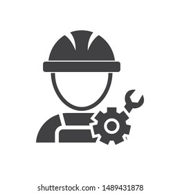 Technician icon with simple silhouette design isolated on white background, Repairman icon