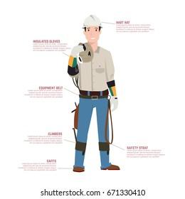 technician , worker flat illustration