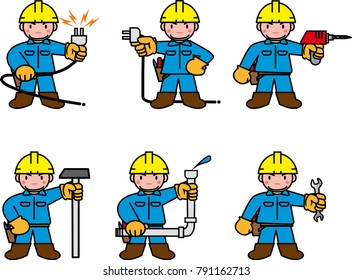 Technicians of various works such as electricity and water supply