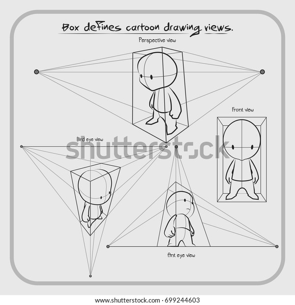Techniques Draw Cartoon Dimension Use Boxes Stock Vector Royalty