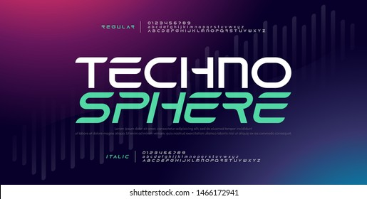 Techno digital modern alphabet fonts. Typography electronic technology music future creative font regular and italic design concept. vector illustraion