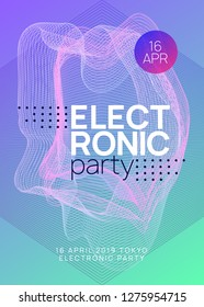 Techno event. Abstract show banner template. Dynamic gradient shape and line. Neon techno event flyer. Electro dance music. Electronic sound. Trance fest poster. Club dj party.