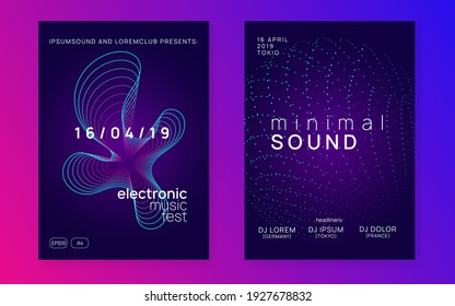 Techno event. Modern concert banner set. Dynamic gradient shape and line. Neon techno event flyer. Electro dance music. Electronic sound. Trance fest poster. Club dj party.