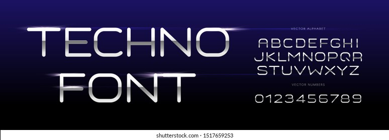 Techno font, geometric thin simple letters and numbers set with chrome texture style and bright metallic highlight effect. Typeset for new technology, sci-fi design, cinema headline. Vector typography