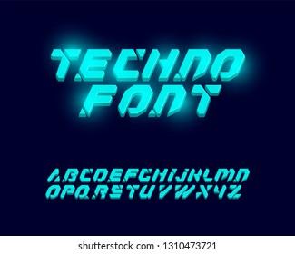 techno font set