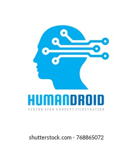 Techno human droid head vector logo concept illustration. Creative idea sign. Learning icon. People computer chip. Innovation technology symbol. Digital modern communication. Manager.