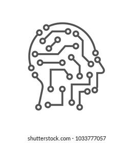 Techno human head vector logo concept illustration. Creative idea sign. Learning icon. People computer chip. Innovation technology symbol. Digital modern communication. Manager. Editable Stroke.
