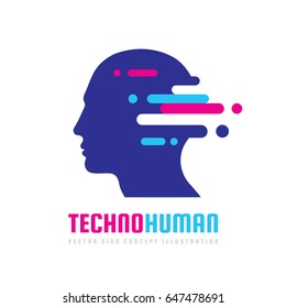 Techno human head vector logo concept illustration. Creative idea sign. Learning icon. People computer chip. Innovation technology symbol. Digital modern communication. Manager.