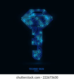 techno key glowing color on black background with circuit board pattern