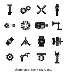 Techno mechanisms kit icons set. Simple illustration of 16 techno mechanisms kit vector icons for web