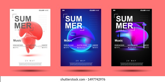 Techno music poster. Electronic club deep music. Musical event disco trance sound. Night party invitation. DJ flyer poster. Fluid shapes composition.