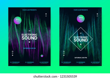 Techno Music Poster. Wave Flyer for Dance Event Promotion. Banner for Techno Sound Performance. Electronic Equalizer Concept and Amplitude of Distorted Lines. Announcement of Techno Music Night Party.