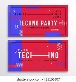 Techno Night Party Club Invitation Card or Flyer Template. Modern Abstract Flat Swiss Style Background with Decorative Stripes, Zig-Zags, Typography. Red, Blue Colors. Soft Realistic Shadows. Isolated