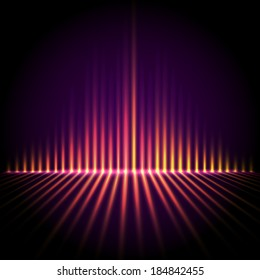 Techno perspective equalizer, abstract technology vector background