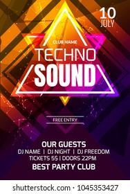 Techno sound music party template, dance party flyer, brochure. Party club creative banner or poster for DJ.