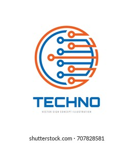 Techno - vector logo template concept illustration. Computer electronic chip creative sign. Modern technology symbol. Abstract design element.