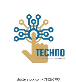 Techno - vector logo template concept illustration. Human hand touch computer electronic chip. Modern technology design element.
