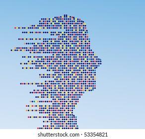 technologic male profile (made of circles)