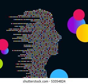 technologic male profile (made of circles