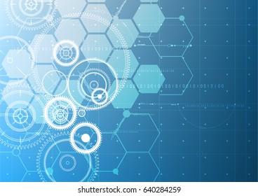 Technological abstract digital gears blueprint interface background vector design