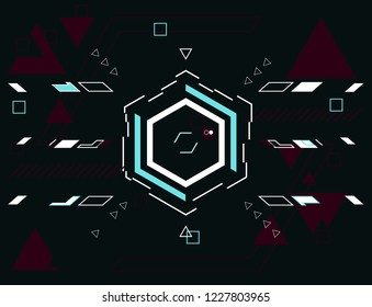 Technological background with geometric figures (based on hexagon). User screen with target lock simulation in aim in cyberpunk style.  Abstract  vector illustration.Hud futuristic user interface