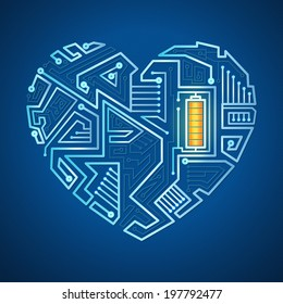 technological background, the heart of the wires on a blue background, illuminated circuitry pattern in the form of heart with battery