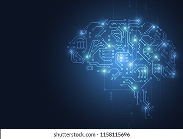 Technological brain. Abstract circuit board. Vector background