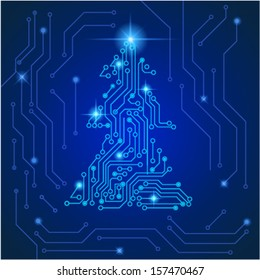 Technological christmas tree. Vector eps10