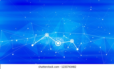 technological conceptual illustration on a blue background - symbol of the internet, information flows, modern digital technology, communication, machine learning, blockchain & artificial intelligence