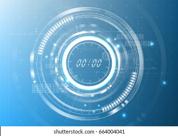 Clock blueprint images stock photos vectors shutterstock technological digital abstract modern clock interface background vector design malvernweather Image collections