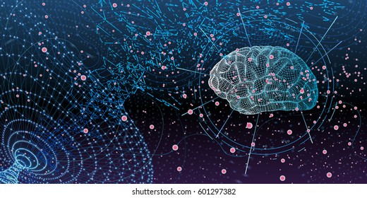 technological digital background with graphic expression of human brain model in abstract digital space