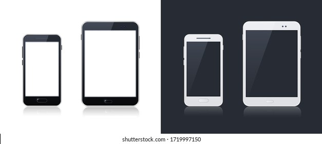 Technological Gadgets on Black and White Background . Isolated Vector Elements