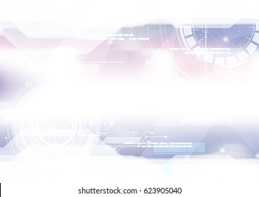 Technological geometric colorful space interface abstract background vector design