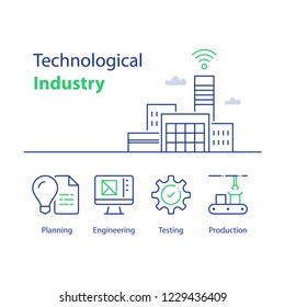 Technological industry, automated production, smart solution, modern factory building, assembly line, quality control and testing, engineering concept, computer monitor, vector linear icon