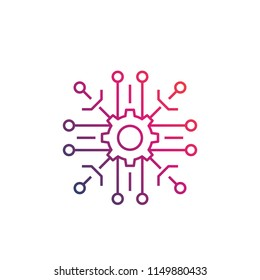 technological process vector linear icon on white