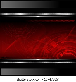 Technological red background with metallic banner. Vector illustration
