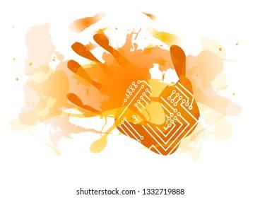technological red splatter handprint isolated on white
