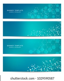 Technological and scientific banners with hexagonal molecule