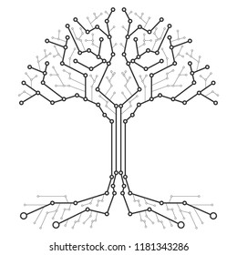 Technological tree in the form of a printed circuit board. Black and white wood in the form of connections of the technological board. Flat design, vector illustration, vector.